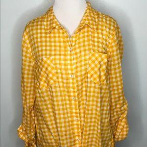 Yellow Gingham Button Down Shirt